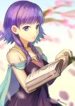 1girl ane-suisei bare_shoulders book cape closed_mouth dress fire_emblem fire_emblem:_seima_no_kouseki holding holding_book lute_(fire_emblem) nintendo open_book purple_hair sleeveless sleeveless_dress solo twintails twitter_username upper_body violet_eyes
