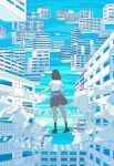 1girl blue_sky blue_theme brown_hair building cityscape clothesline commentary_request day fantasy from_behind highres original outdoors pleated_skirt scenery seraphitalg shirt short_hair short_sleeves signature skirt sky solo standing white_shirt