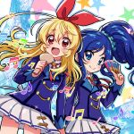 2girls aikatsu! aikatsu!_(series) beamed_eighth_notes beamed_sixteenth_notes blonde_hair blue_eyes blue_hair blue_jacket blue_scrunchie blush bow closed_mouth commentary_request cowboy_shot eighth_note eyebrows_visible_through_hair hair_between_eyes hair_bow hand_holding highres holding hoshimiya_ichigo idol jacket kingin kiriya_aoi long_hair long_sleeves miniskirt multiple_girls musical_note neck_ribbon open_mouth pleated_skirt quarter_note red_bow red_eyes red_ribbon ribbon school_uniform scrunchie side_ponytail single_horizontal_stripe single_stripe skirt smile star starlight_academy_uniform white_skirt