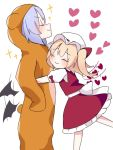 2girls ^_^ animal_costume animal_ears animal_hood bangs bat_wings bear_costume bear_ears bear_hood black_wings blonde_hair blue_hair blush bow closed_eyes closed_eyes closed_mouth eringi_(rmrafrn) eyebrows_visible_through_hair fake_animal_ears flandre_scarlet flapping frilled_skirt frills hair_between_eyes hat hat_bow heart hood hood_up hug low_wings mob_cap multiple_girls one_side_up puffy_short_sleeves puffy_sleeves red_bow red_skirt red_vest remilia_scarlet shirt short_sleeves siblings simple_background sisters skirt smile sparkle touhou vest white_background white_headwear white_shirt wings