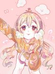 1girl blonde_hair check_copyright clouds commentary_request flower flower_on_head hanataro_(sruvhqkehy1zied) heart heart-shaped_pupils leaning_forward long_hair long_sleeves looking_at_viewer orange_eyes original pink_background pink_flower solo symbol-shaped_pupils tongue tongue_out valentine very_long_hair