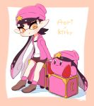 +_+ 1girl :o aori_(splatoon) beanie black_hair brown_footwear brown_shorts character_name company_connection copy_ability coula_cat gradient_hair hat hat_ornament highres hood hood_down hooded_jacket jacket kirby kirby_(series) long_hair long_sleeves luggage mole mole_under_eye multicolored_hair nintendo open_clothes open_jacket open_mouth orange_eyes pink_hair pink_headwear pink_jacket pointy_ears shirt shoes shorts splatoon splatoon_(series) splatoon_2 star symbol-shaped_pupils tentacle_hair two-tone_hair very_long_hair white_shirt
