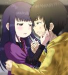1boy 1girl black_hair brown_eyes brown_hair crying crying_with_eyes_open dirty_face dress eye_contact grey_eyes hetero high_score_girl highres jewelry long_hair long_sleeves looking_at_another oono_akira purple_dress ring sunday-offline tears yaguchi_haruo yellow_hoodie