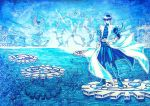 1boy arm_belt belt_buckle blue_sky blue_theme buckle gears highres kaiba_seto long_sleeves looking_at_viewer male_focus monochrome motumotu_58 outdoors pants sky solo standing water yu-gi-oh!