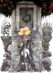 1girl abigail_williams_(fate/grand_order) bow cross darkness fate/grand_order fate_(series) hat highres kan_(aaaaari35) legs_crossed long_hair red_eyes sitting statue tentacle third_eye throne very_long_hair white_background witch_hat