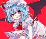 1girl ascot ayariri bangs bat_wings blood blood_on_face blue_hair brooch commentary_request cowboy_shot dress eyebrows_visible_through_hair frilled_shirt_collar frills hair_between_eyes hat hat_ribbon highres jewelry leaning_forward looking_at_viewer mob_cap open_mouth puffy_short_sleeves puffy_sleeves red_background red_eyes red_neckwear red_ribbon remilia_scarlet ribbon short_hair short_sleeves simple_background smile solo touhou uneven_eyes white_dress white_headwear wings