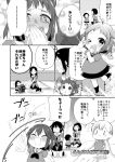 >_< 6+girls :3 ;d ^q^ antenna_hair bangs chibi closed_eyes comic commentary_request double_bun eyebrows_visible_through_hair fairy_(kantai_collection) greyscale hair_ornament hairclip holding holding_microphone idol jintsuu_(kantai_collection) kantai_collection koruri long_hair look-alike looking_at_viewer microphone monochrome multiple_girls naka_(kantai_collection) one_eye_closed open_mouth ponytail school_uniform searchlight sendai_(kantai_collection) serafuku short_hair smile tearing_up translation_request twintails two_side_up v younger