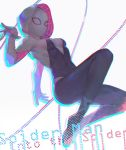 1girl black_bodysuit bodysuit breasts copyright_name covered_navel facing_viewer hand_up highres lino_chang mask medium_breasts midair outstretched_arm simple_background skin_tight solo spider-gwen spider-man:_into_the_spider-verse spider-man_(series) spider_web_print string white_background