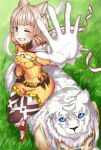 animal_ear_fluff animal_ears bangs belt blunt_bangs bodysuit boots byakko_(xenoblade) cat_ears combat_knife facepaint fur gloves grass hands highres knife looking_at_viewer nintendo niyah one_eye_closed red_footwear ribbon silver_hair smile weapon white_fur white_gloves xenoblade_(series) xenoblade_2 yellow_bodysuit yellow_ribbon
