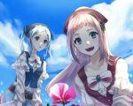 2girls bandanna belt blue_eyes blue_hair blue_sky buttons clouds danno_gs day felicia_(fire_emblem_if) fire_emblem fire_emblem_heroes fire_emblem_if flora_(fire_emblem_if) flower grey_eyes highres long_hair long_sleeves multiple_girls nintendo open_mouth outdoors pink_hair siblings sisters sky twintails