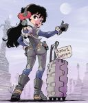 1girl ass black_hair commentary curly_hair full_body hand_on_hip headgear highres hitchhiking kiichi long_hair looking_back luggage original science_fiction sign skin_tight solo spacesuit thumbs_up