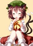 1girl animal_ear_fluff animal_ears blush bow bowtie brown_hair cat_ears cat_tail chen closed_eyes earrings eyebrows_visible_through_hair green_headwear hat highres jewelry long_sleeves multiple_tails red_skirt ruu_(tksymkw) short_hair simple_background sitting skirt solo tail tongue tongue_out touhou yellow_background yellow_neckwear