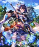 1girl ahoge architecture armor armpits blue_skirt blue_sky breasts brown_eyes building cleavage clouds company_name copyright_name day detached_sleeves east_asian_architecture esukee feathers feet_out_of_frame flower hair_feathers hair_flower hair_ornament hand_up holding holding_sword holding_weapon hydrangea japanese_armor japanese_clothes katana kusazuri long_sleeves looking_at_viewer medium_breasts midriff miniskirt navel official_art outdoors petals petticoat purple_hair sengoku_saga sheath short_hair shoulder_armor skirt sky smile sode solo standing sword thigh-highs tree unsheathing weapon white_legwear wide_sleeves zettai_ryouiki