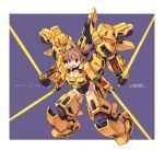 1girl absurdres armor beam_saber blue_eyes breasts brown_hair cleavage commentary_request energy_sword full_body gundam highres large_breasts leotard mecha_musume michi_kuso multiple_arms open_mouth quadruple_wielding short_hair short_twintails simple_background skindentation solo sword the_o twintails weapon zeta_gundam