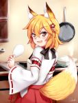 1girl :d absurdres animal_ear_fluff animal_ears apron bangs blonde_hair blush brown_apron brown_hair chrisandita commentary eyebrows_visible_through_hair fang flower fox_ears fox_girl fox_tail frying_pan hair_between_eyes hair_flower hair_ornament highres holding indoors japanese_clothes kimono kitchen long_sleeves looking_at_viewer looking_back open_mouth red_flower redhead ribbon-trimmed_sleeves ribbon_trim senko_(sewayaki_kitsune_no_senko-san) sewayaki_kitsune_no_senko-san signature smile solo stove tail tail_raised v-shaped_eyebrows white_kimono wide_sleeves