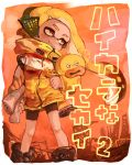 1girl :3 bangs bike_shorts black_shorts blonde_hair blunt_bangs closed_mouth commentary_request denchinamazu domino_mask earmuffs highres ink_tank_(splatoon) inkling long_hair mask pointy_ears scroll shoes shorts single_vertical_stripe smile sneakers solo splatoon splatoon_(series) splatoon_2 squidbeak_splatoon suction_cups tentacle_hair tona_bnkz yellow_coat