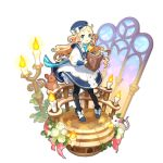 1girl aqua_eyes bell bell_collar black_legwear blonde_hair book candle cheese collar dragalia_lost dress food hat holding holding_book long_hair long_sleeves looking_at_viewer mouse non-web_source official_art pia_(dragalia_lost) puffy_sleeves ribbon sailor_collar saitou_naoki stained_glass transparent_background white_dress