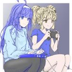 2girls ahoge arcade_stick artist_progress bangs black_legwear blonde_hair blue_eyes blue_hair blunt_bangs brown_eyes cable casual chaesu commentary controller english_commentary eyebrows_visible_through_hair flat_chest game_controller gamepad hairband huge_ahoge joystick long_hair mika_(under_night_in-birth) multiple_girls orie_(under_night_in-birth) pantyhose playing_games revision shirt short_twintails shorts sitting smile sweater t-shirt twintails under_night_in-birth under_night_in-birth_exe:late[st] white_hairband