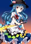 1girl blue_hair hat highres hinanawi_tenshi long_hair ruu_(tksymkw) solo sword_of_hisou touhou
