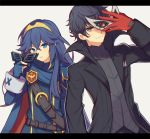 1boy 1girl amamiya_ren atlus black_hair black_jacket blue_eyes blue_hair cape fingerless_gloves fire_emblem fire_emblem:_kakusei gloves intelligent_systems jacket long_hair lucina mask mask_removed megami_tensei nintendo persona persona_5 red_gloves smile sora_(company) super_smash_bros. super_smash_bros._ultimate tiara upper_body wusagi2