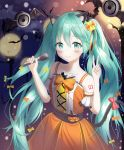 1girl animal_ears aqua_hair bat blush bow cat_ears cat_tail collarbone commentary_request dot_nose dress eyebrows_visible_through_hair hair_between_eyes hair_bow halloween hatsune_miku highres holding holding_microphone long_hair looking_at_viewer microphone moon multiple_bows nay number orange_dress pumpkin red_bow sleeveless smile solo tail thigh-highs twintails very_long_hair vocaloid