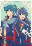1boy 1girl armor blue_eyes blue_hair blush cape echo_fighter fire_emblem fire_emblem:_kakusei fire_emblem:_monshou_no_nazo fire_emblem:_shin_monshou_no_nazo gloves great_grandfather_and_great_garndaughter headband highres intelligent_systems kiriya_(552260) long_hair looking_at_viewer lucina marth nintendo short_hair simple_background smile super_smash_bros. super_smash_bros._ultimate super_smash_bros_for_wii_u_and_3ds tiara