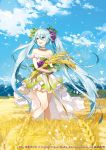 1girl aqua_eyes aqua_hair clouds copyright_name day dress hatsune_miku highres long_hair looking_to_the_side mountain open_mouth sky smile snowflakes solo standing strapless strapless_dress twintails very_long_hair vocaloid wheat wheat_field yuzuki_kihiro