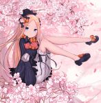 1girl abigail_williams_(fate/grand_order) bangs black_bow black_dress black_footwear black_headwear blonde_hair blue_eyes bow cherry_blossoms closed_mouth dress fate/grand_order fate_(series) forehead gantan hair_bow legs long_hair orange_bow parted_bangs polka_dot polka_dot_bow sleeves_past_fingers sleeves_past_wrists stuffed_animal stuffed_toy teddy_bear white_bloomers