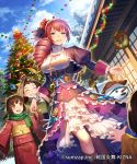 1boy 2girls :d ^_^ blue_sky blurry boots breasts brown_eyes brown_hair child christmas christmas_ornaments christmas_tree christmas_wreath closed_eyes closed_eyes company_name copyright_name cross cross_necklace day depth_of_field dress drill_hair dutch_angle esukee fan flower folding_fan frilled_dress frills hair_flower hair_ornament hair_ribbon hand_holding hat japanese_clothes jewelry juliet_sleeves kimono knee_boots long_hair long_sleeves looking_at_viewer medium_breasts mino_boushi multiple_girls necklace obi official_art open_mouth out_of_frame outdoors outstretched_hand parted_lips puff_and_slash_sleeves puffy_sleeves red_flower red_rose redhead ribbon rice_hat rose sash scarf sengoku_enbu_-kizna- shouji sky sliding_doors smile snow snowman solo_focus standing tree underbust violet_eyes