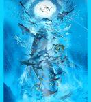 1boy 1girl barefoot blonde_hair dolphin fish highres kaiju_no_kodomo key_visual long_hair official_art shark shirt short_hair shorts stingray turtle underwater whale white_shirt