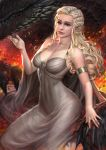 1girl a_song_of_ice_and_fire armlet blonde_hair blue_eyes braid breasts cleavage closed_mouth daenerys_targaryen dragon dress game_of_thrones lips long_hair looking_at_viewer medium_breasts nail_polish nudtawut_thongmai sitting solo white_dress