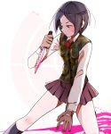 1girl bangs black_hair black_legwear blue_eyes brown_gloves commentary danganronpa danganronpa_1 dated english_commentary freckles gloves highres holding holding_knife holding_weapon huyandere ikusaba_mukuro knife looking_to_the_side parted_bangs pink_blood pleated_skirt shirt short_hair skirt solo weapon white_shirt