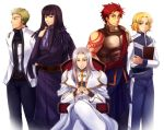 5boys arms_behind_back black_eyes black_hair blonde_hair blue_pants breastplate brown_eyes calne_kaiwal claugh_klom densetsu_no_yuusha_no_densetsu green_eyes hands_together jacket long_hair long_sleeves looking_at_viewer male_focus milan_froward multiple_boys nocturne_(pixiv41691) open_clothes open_jacket pants purple_neckwear rahel_miller redhead shiny shiny_hair shoulder_armor silver_hair simple_background sion_astal sitting smile spaulders standing tattoo white_background white_jacket white_pants
