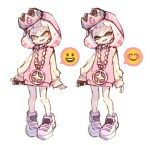 +_+ 1girl bangs blunt_bangs cellphone commentary crown domino_mask dress expressions fang gem head_tilt hime_(splatoon) holding holding_cellphone holding_phone jewelry long_sleeves mask medium_hair mole mole_under_mouth necklace open_mouth pendant phone pink_dress pink_hair sen_squid shoes simple_background smile smiley_face splatoon splatoon_(series) splatoon_2 sweater sweater_dress symbol_commentary tentacle_hair white_background white_footwear white_hair yellow_eyes