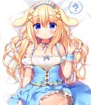 1girl :o ? animal_ears bangs bed_sheet blonde_hair blue_ribbon blue_skirt blush bow collarbone commentary_request detached_sleeves eyebrows_visible_through_hair frilled_skirt frills hair_between_eyes hair_bow hair_ornament hand_up long_hair lying maid maid_headdress neck_ribbon on_back original panties parted_lips puffy_short_sleeves puffy_sleeves rabbit rabbit_ears ribbon sasai_saji short_sleeves sidelocks skirt skirt_lift sleeveless solo spoken_question_mark underwear very_long_hair violet_eyes white_bow white_panties white_sleeves wrist_cuffs x_hair_ornament