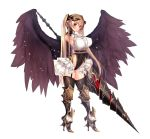 1girl angel_wings armored_boots armpits bangle bangs black_gloves black_legwear black_leotard black_wings blouse blush boots bracelet breasts collared_blouse commentary_request covered_navel cowboy_shot demon_horns elbow_gloves eyebrows_visible_through_hair fallen_angel feathers full_body garter_belt garter_straps gloves gold gold_trim groin hand_up high_heel_boots high_heels highleg highleg_leotard highres holding holding_weapon horns jewelry lance large_breasts leotard long_hair looking_at_viewer neck_ribbon original parted_lips polearm red_eyes red_ribbon ribbon short_sleeves sidelocks simple_background skindentation smile solo thigh-highs thighs twintails underbust untsue very_long_hair weapon white_background white_blouse wings