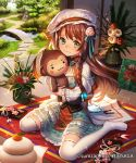 1girl :3 aqua_dress braid bridge brown_hair camellia capelet company_name copyright_name day dress esukee flower food frilled_dress frills fruit full_body green_eyes hagoita hair_flower hair_ornament hat holding holding_stuffed_animal indoors kadomatsu kagami_mochi kite long_hair looking_at_viewer mandarin_orange mob_cap new_year official_art paddle pond ribbon-trimmed_legwear ribbon_trim sengoku_saga side_braid sitting solo stepping_stones stuffed_animal stuffed_monkey stuffed_toy tatami thigh-highs tree vase veranda wariza white_legwear