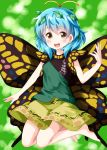 1girl :d antennae barefoot blue_hair blush brown_eyes butterfly_wings eternity_larva eyebrows_visible_through_hair green_background highres leaf leaf_on_head looking_at_viewer open_mouth ruu_(tksymkw) short_hair skirt smile solo touhou wings yellow_skirt yellow_wings