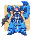 1girl armor bare_shoulders breasts commentary_request controller elbow_gloves full_body gloves gun gundam gundam_hathaway's_flash gustav_karl helmet highres large_breasts leotard looking_at_viewer mecha_musume michi_kuso pink_eyes pink_hair shield short_hair simple_background solo thigh-highs weapon