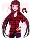 1girl alternate_costume bangs black_hair black_shirt collarbone commentary danganronpa english_commentary hair_ornament hairclip harukawa_maki heart highres huyandere long_hair looking_at_viewer low_twintails mole mole_under_eye new_danganronpa_v3 pants red_eyes red_scrunchie red_shirt scrunchie shirt simple_background sleeves_rolled_up solo twintails two-tone_shirt very_long_hair