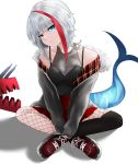 1girl absurdres admiral_graf_spee_(azur_lane) alternate_costume azur_lane bare_shoulders blue_eyes breasts cleavage collarbone commentary english_commentary eyebrows_visible_through_hair fishnet_legwear fishnets head_tilt highres indian_style looking_at_viewer multicolored_hair shark_tail shoes short_hair simple_background sitting small_breasts sneakers solo spaghetti_strap streaked_hair tini white_background white_hair
