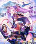 3girls :d armor black_legwear blue_eyes boots cape clouds company_name copyright_name day esukee floating_island flower from_side full_body hair_flower hair_ornament iris_(flower) japanese_armor knee_boots koinobori kusazuri long_hair looking_at_viewer looking_back midair midriff miniskirt multiple_girls official_art open_mouth outdoors petals pleated_skirt purple_hair red_skirt ribbon riding sengoku_saga shoulder_armor skirt sky smile sode solo_focus tassel thigh-highs twintails zettai_ryouiki