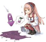 1girl bandanna boots felicia_(fire_emblem_if) fingerless_gloves fire_emblem fire_emblem_heroes fire_emblem_if gloves green_eyes high_heels inkling long_hair long_sleeves lowres nintendo open_mouth pink_hair ponytail robaco simple_background splatoon_(series) squatting twitter_username white_background