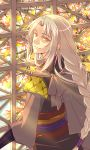 1boy braid braided_ponytail densetsu_no_yuusha_no_densetsu eyebrows_visible_through_hair hair_between_eyes highres indoors jamu_(runtatta) leaf long_hair long_sleeves looking_at_viewer male_focus maple_leaf shiny shiny_hair silver_hair single_braid sion_astal smile solo very_long_hair yellow_eyes