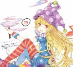 1girl american_flag_dress american_flag_legwear bangs blonde_hair blue_dress blue_legwear blush clownpiece commentary_request dress eighth_note feet_out_of_frame hat heart holding holding_torch jester_cap long_hair looking_at_viewer musical_note neck_ruff no_shoes nuudoru open_mouth pantyhose pointing polka_dot polka_dot_hat purple_headwear red_dress red_eyes red_legwear short_dress simple_background sitting smile solo spoken_heart star star_print striped striped_dress striped_legwear thighs torch touhou translation_request very_long_hair white_background white_dress wristband