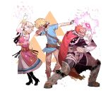 1girl 2boys arm_up aura belt blonde_hair bracer cape commentary dab_(dance) dark_skin dark_skinned_male dress ganondorf glowing glowing_hand green_eyes highres idohj12 link looking_at_viewer multiple_boys nintendo pointy_ears pose princess_zelda red_eyes redhead shoulder_armor simple_background standing super_smash_bros. the_legend_of_zelda the_legend_of_zelda:_a_link_between_worlds the_legend_of_zelda:_breath_of_the_wild the_legend_of_zelda:_ocarina_of_time tiara triforce white_background