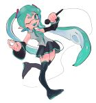 1girl ;d aqua_eyes aqua_hair black_legwear crossover detached_sleeves domino_mask hair_ornament hatsune_miku highres long_hair looking_at_viewer mask microphone one_eye_closed open_mouth pointy_ears skirt sleeveless smile solo splatoon_(series) standing standing_on_one_leg tentacle_hair thigh-highs twintails vocaloid zjoast