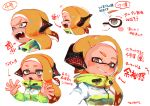 1girl angry black_shirt blonde_hair cape character_sheet domino_mask earmuffs expression_chart expressions fangs grey_eyes high_collar highres inkling long_sleeves mask open_mouth pointy_ears shirt short_hair smile smug splatoon splatoon_(series) splatoon_2 squidbeak_splatoon suction_cups tentacle_hair tona_bnkz vest yellow_vest