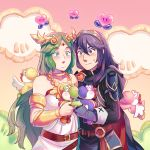 2girls absurdres armor blue_eyes blue_hair blush breasts cape chibi dinosaur fingerless_gloves fire_emblem fire_emblem:_kakusei fire_emblem_heroes frogbians gloves goddess green_eyes green_hair highres intelligent_systems kid_icarus kid_icarus_uprising long_hair looking_at_viewer lucina multiple_girls nintendo nintendo_ead palutena simple_background smile sora_(company) super_smash_bros. super_smash_bros_for_wii_u_and_3ds sword_girl tiara wings yoshi yoshi's_island yuri