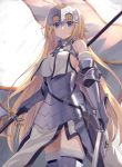 1girl armor armored_dress bare_shoulders blonde_hair blue_eyes braid breasts capelet chains fate/apocrypha fate/grand_order fate_(series) faulds flag fur_trim gauntlets headpiece highres holding holding_sword holding_weapon jeanne_d'arc_(fate) jeanne_d'arc_(fate)_(all) kou_v05first large_breasts long_hair solo sword very_long_hair weapon yellow_eyes